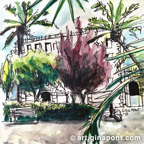 Watercolor sketch of the Palau Robert garden. It is an studio of the light on the trees and plants.