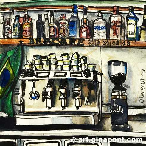 Last drawing before the close of Brasil Bracafe Casp 2 after 87 years active in Barcelona.