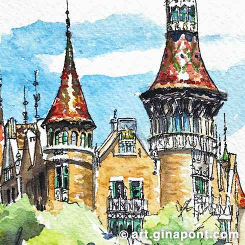 Watercolor urban sketch of Casa de les Punxes, an emblem of Catalan Art Nouveau, Barcelona.