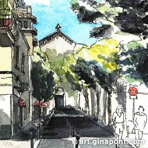 Watercolor and rotring sketch of Plaça Virreina, Gracia.
