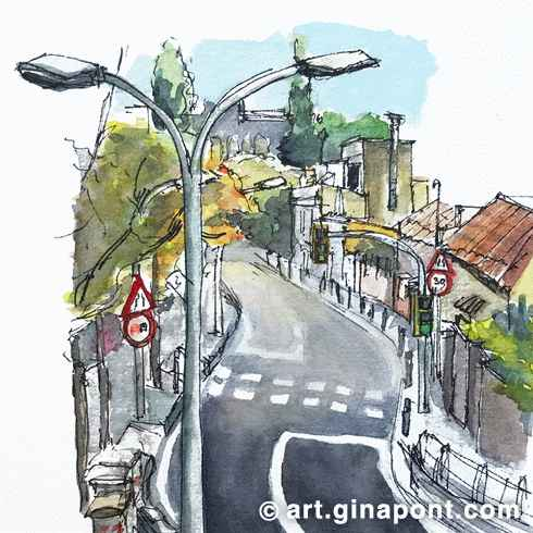 Drawing Barcelona Workshop: Watercolor and rotring sketch of a road near Peu del Funicular, Vallvidrera-Sarrià, Barcelona.