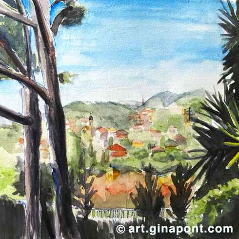 Watercolor and rotring stketch of Cabrils landscape, a small village of Maresme