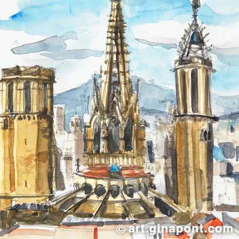 Watercolor and pencil sketch of Barcelona Catedral, an emblematic gothic building, Barcelona.