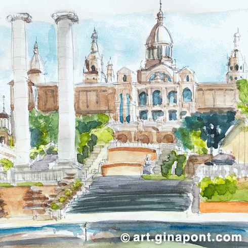 Watercolor and pencil sketch of Montjuïc with views to The National Art Museum of Catalunya, Barcelona.