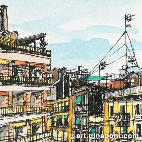 Watercolor and rotring urban sketch of the Eixmaple views from a window, Barcelona.