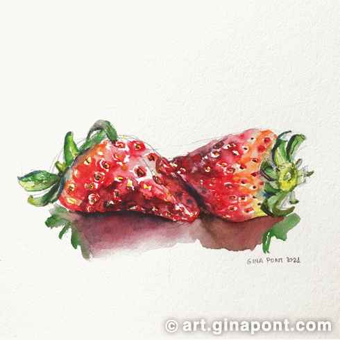 Strawberries art print made with the following art supplies: markers Lyra Aqua Brush Duo and Daler-Rowney brushes on 300 gsm cold-pressed paper, Canson XL