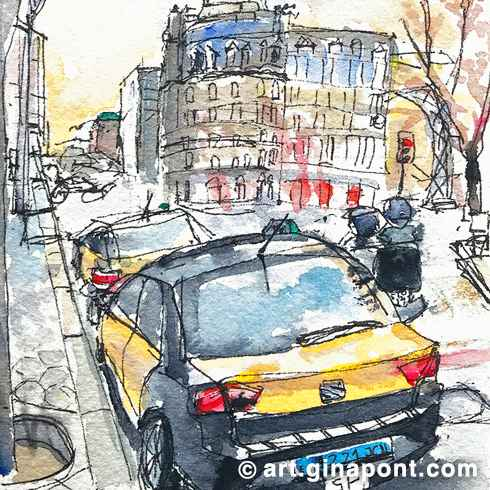 Watercolor and rotring urban sketch of typical taxis of Barcelona, yellow and black.