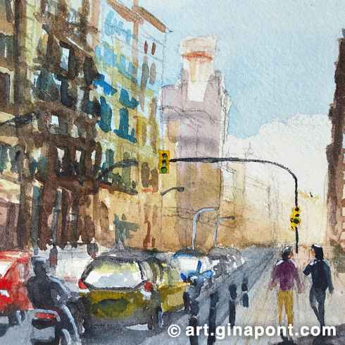 Watercolor and pencil urban sketch of traffic jam in center of Barcelona. Cityscape sunny day. Wide street avenue with cars and high buildings.