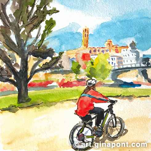 Watercolor and rotring Gina Pont urban sketch of Segre River, Lleida. It shows a girl riding a bike near the river with La Seu Vella on the background.