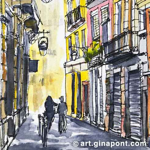 Watercolor Gina Pont's sketch of Gothic Quarter, Barcelona. It represents a romantic narrow residential bystreet in Gothic Quarter with antique street lamp at wall of old buildings.